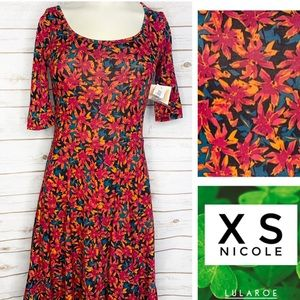 XS Nicole Black background floral dress